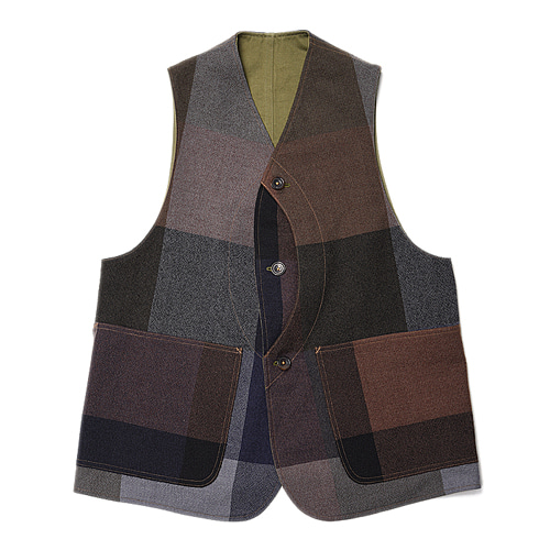"KAPTAIN SUNSHINE Reversible Vest ""Multi Color Check"""