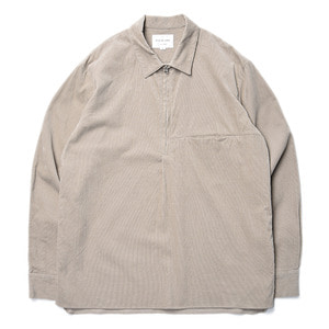 "Still by Hand Half Zip Corduroy Shirt ""Beige"""