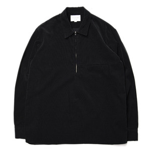 "Still by Hand Half Zip Corduroy Shirt ""Black"""