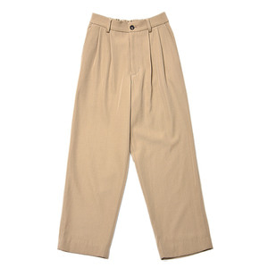 "KIIT Wool Back Satin Twill Wide Trousers ""Beige"""