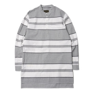 "Qlad Museum Unsteady Stripes Ragman Shirt ""Black Stripes"""