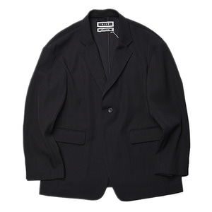 "KIIT Wool Back Satin Twill Loose Tailored Jacket ""Black"""