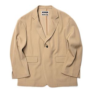 "KIIT Wool Back Satin Twill Loose Tailored Jacket ""Beige"""