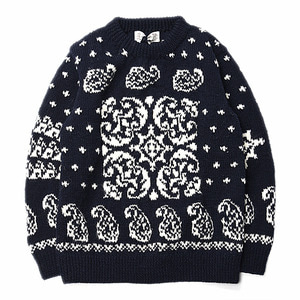"ATHENA DESIGNS Paisley F.I Crew Sweater ""White"""