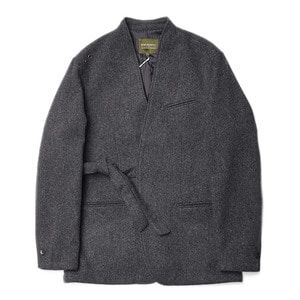 "Qlad Museum Quiet Wool Tied Jacket ""Charcoal Grey"""