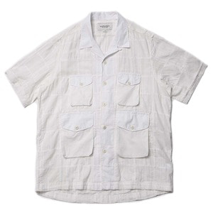 "East Logue Safari Open Shirt ""White Madras"""