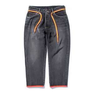 "STAND OUT STORE 12.5oz Washed Denim Cropped Pants ""Black & Orange"""
