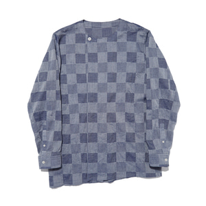 "Qlad Museum Round Pleated Shirt ""Indigo"""