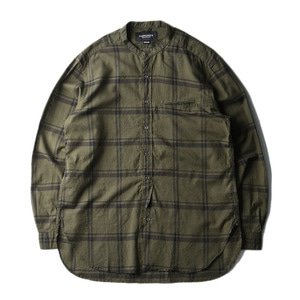 "EASTLOGUE Banded Collar Long Shirt ""Olive Wide Check"""