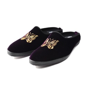 "NEEDLES Papillon Emb. Mule R/Cu Velvet ""Purple"""