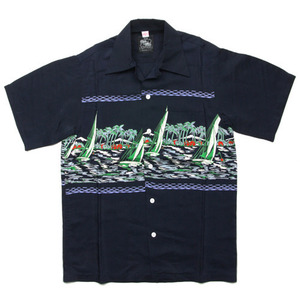 "Kona Bay Hawaii Yacht Hawaiian Shirts ""Navy"""