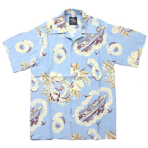 "Kona Bay Hawaii Lei, Ukulele, Liner Hawaiian Shirts ""Blue"""