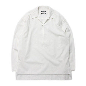 "KIIT 6oz Cotton Denim Pullover Open Collar Shirts ""White"""
