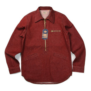 "Gooseberry Lay & Co. Paul Zipper Pullover Shirts ""Red Denim"""
