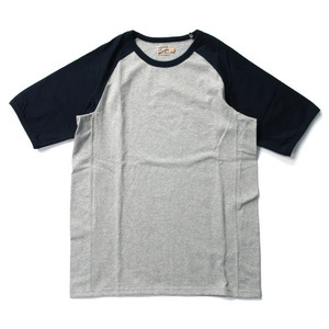 "Gooseberry Lay & Co. Two-Tone Raglan Combos Rag Tee ""Black/Grey Melange"""