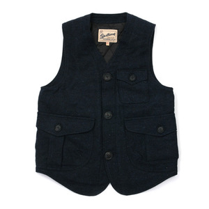 Gooseberry Lay & Co. Gaffer Waistcoat Vest Navy Tweed Wool With Quilted Nylon